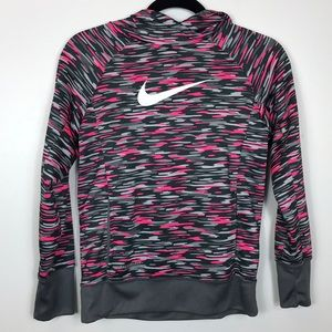 NIKE Pink and Grey Therma - Fit Hoodie Sweatshirt